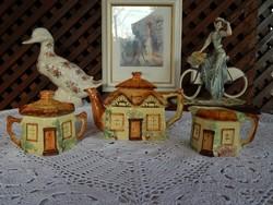 Angol ház forma gyűjtői kanna, cukortartó , kiöntő