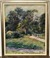 Békéssy Leo (1890 - 1966) Séta a parkban , Győr 1963 c. olajfestménye EREDETI GARANCIÁVAL !!