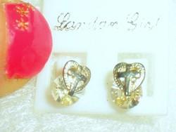 London Szív-Kereszt Hegyikristály 925 ezüst fülbevaló