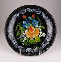 0W783 Mezei virágos Gránit falitányér 24 cm