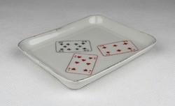 0W776 Régi kártyalapos aquincumi porcelán hamutál