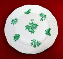 Herendi lapostányér zöld viktória mintás