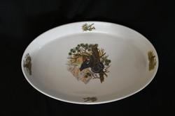 Hollóházi vadász jelenetes porcelán - ovális tálaló tál - fácán és szarvas  dekorral