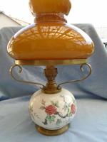Antik Fischer petróleum lámpa réz szerelékkel 37 cm magas