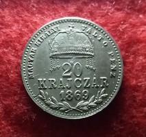Gyönyörű ezüst 20 Krajcár 1869 MKVP KB. Verőtő repedések!