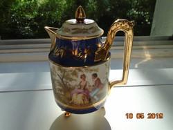 Altwien,opulensen aranyozott, festményszerű 3 zsánerjelenettel panoramikus tájban,kávé kiöntő