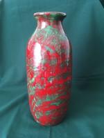 Mihály Béla piros-zöld kerámia váza 30 cm