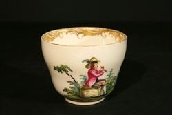 Antik 1789. Alt Wien Csésze Kézzel Festett Aranyozott 18. századi Royal Vienna 10x5,5cm Hibátlan
