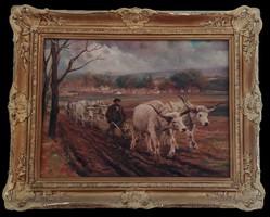 Cserna Károly - Szántó ökrök - eredeti, szignózott festmény
