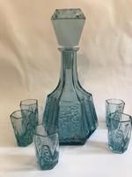 Likőrös készlet középkék préselt, csiszolt üvegből, 1940-es évek