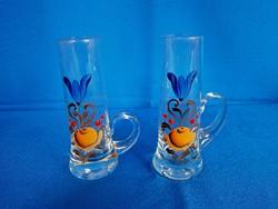 2 db különleges füles üveg pohár festett virág mintával