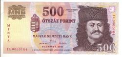 500 forint 2001 MINTA UNC 0000164 sorszám
