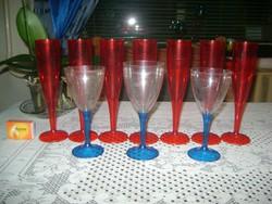 Retro talpas pohár - tizenegy darab - műanyag