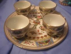 U2 Antik, Famille Róse teás, kávés szett gyűjtői ritkaság porc tálcájával