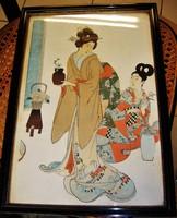 Antik japán fametszet bontatlan régi keretében
