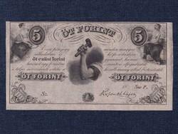 """Extra szép Kossuth Lajos emigrációs 5 Forint 1852 """"Sor F"""" Philadelphia, tökéletes UNC"""