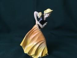 Art deco Sitzendorf táncos hölgy fajansz figura 14 cm