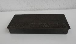 Vörösréz iparművészeti Tevan stílusú kártyadoboz - doboz - szüretelők domborjelenettel