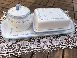 Apró kék mintás fehér vajtartó, cukortartó, tálca egyben Pfalzkeramik