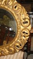 Fafaragott eredeti barokk florentin tükör. Ovális.
