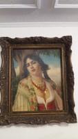 Friedlinger Jenő (1890 - ?) - Fiatal Lány - Olaj Vászon - 50 x 40 cm. (GYÖNYÖRŰ)