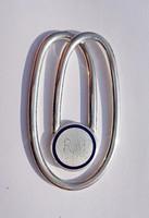Tűzzománcos ezüst pénzcsipesz, Oppenheim gyártói jelzéssel