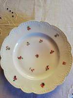 1 db Zsolnay gyöngysor szélű porcelán lapos tányér, ímbolyog
