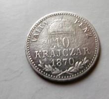 Ezüst 10 Krajcár 1870 T2 KB