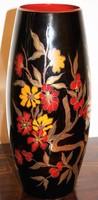 Zsolnay kéttüzű eozin mázas,  virágos váza. Hibátlan, jelzett!  33 cm magas.
