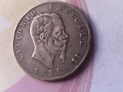 1876 olasz ezüst 5 líra 25 gramm 0,900