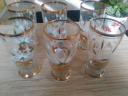 Nagyon szép kézzel festett aranyozott poharak