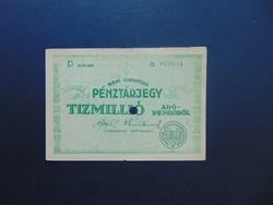 10 millió adópengő pénztárjegy 1946 RR ! Hátoldal üres !