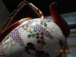Dombor zománc kézi festéssel és aranyozással ,dekoratív japán kiöntő