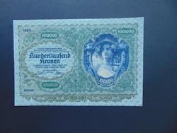100000 korona 1922 Ritka nagy méretű bankjegy !