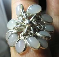 925 ezüst gyűrű, 18,3/57,5 mm, sok acháttal