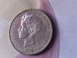 1898 spanyol ezüst 5 líra 25 gramm 0,900