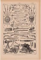Fegyverek, nyomat 1923, francia, 19 x 29 cm, lexikon, eredeti, fegyver, kard, puska, pisztoly, ágyú