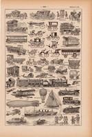 Járművek, nyomat 1923, francia, 19 x 29 cm, lexikon, eredeti, autó, hajó, repülő, kocsi, autóbusz