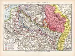 A Nagy háború térképe 1923, francia, 19 x 29 cm, lexikon, eredeti, I. világháború, francia front