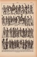 Utászok, nyomat 1923, francia, 19 x 29 cm, lexikon, eredeti, hadsereg, katona, hadtörténet, utász