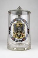 0X050 Német császári címeres ónfedeles söröskorsó