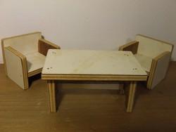 Régi, retró házilag készült baba bútor, bababútor-két fotel és asztal egyben