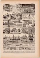 Halászat, horgászat, nyomat 1923, francia, 19 x 29 cm, lexikon, eredeti, hal, halász, horgász, szák