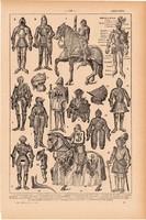 Páncél, nyomat 1923, francia, 19 x 29 cm, lexikon, eredeti, lovag, lovagi, páncélos, kard, pajzs