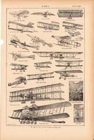 Repülő, repülés, nyomat 1923, francia, 19 x 29 cm, lexikon, eredeti, történet