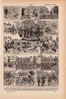 Vadászat, nyomat 1923, francia, 19 x 29 cm, lexikon, eredeti, vadász, véreb, ló