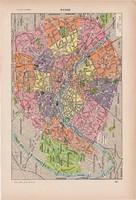 Párizs térkép 1923, francia, 19 x 29 cm, lexikon, eredeti, Európa, Franciaország, város