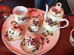 Kávéskészlet -IBOLYÁS-KARLSBAD-Royal Austria porcelán-HIÁNYOS!!!