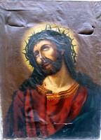 Antik barokk festmény ,töviskoszorús krisztus (SÉRÜLT ) Mérete:70x53 cm