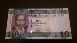 Dél-Szudán 10 Pounds UNC 2015